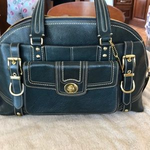 Stunning Coach satchel blue green color.
